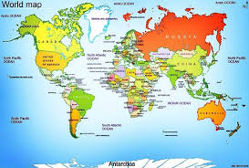 world map oceans seas bays lakes world map country