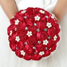 Red Wedding Bouquets Aliexpress Com Buy Red Bridal Bouquets Silk Rose Flowers Noiva
