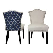 Set Of Two Dining Chairs Sweetheart Two Tone Ivory Regency Blue Ogee Dining Chair Set Of