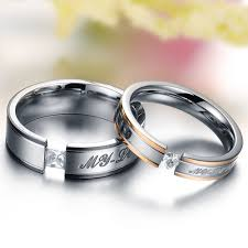 promise ring engagement ring wedding ring set aliexpress buy stainless titanium steel rings set