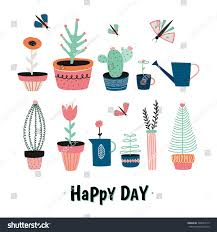 set cute house plants pots hand stock vector 394629175 shutterstock