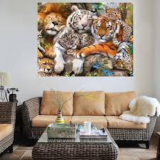 tiger lion leopard 5d diamond painting diy craft cross stitch home