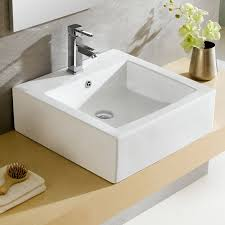 fine fixtures modern ceramic square vessel bathroom sink with