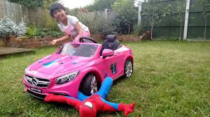 pink mercedes pink mercedes ride on runs over spiderman peppa pig power wheels