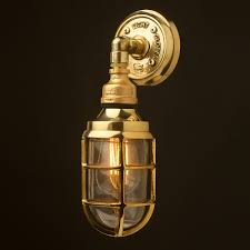 Outdoor Brass Light Fixtures Brass And Plumbing Pipe Bunker Cage Wall Light