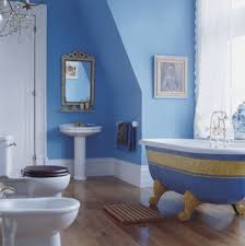 blue bathroom ideas dark brown lacquered wooden counter top and