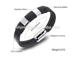leather bracelet magnetic images Cheap leather bracelets for men boy braided magnetic clasp jpg