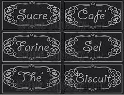 Labels For Kitchen Canisters French Canister Labels Printable Jpg Sheet Chalkboard Style