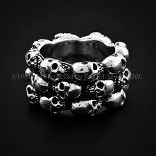 mens rings skull images Sterling silver cluster skull ring JPG
