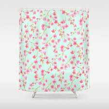 Mint Shower Curtain Pink And Mint Floral Shower Curtain Cherry Blossom Pattern