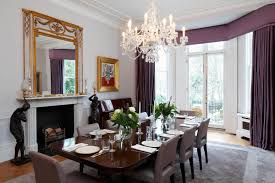 Purple Curtains For Modern Dining Room Design With Pendant Crystal - Crystal chandelier dining room