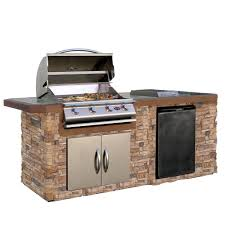 cal flame 7 ft natural stone grill island with tile top and 4