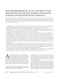 activities performed by acute and critical care advanced practice