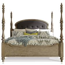 Acacia Bedroom Furniture by Queen Upholstered Poster Bed In Sun Drenched Acacia Finish By
