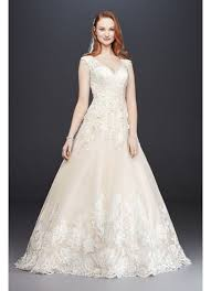 wedding tulle scalloped v neck lace and tulle wedding dress david s bridal