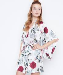 robe de chambre etam déshabillé kimono satin imprimé fancy white etam