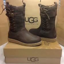 ugg womens amelia boots chocolate ugg australia amelia chocolate brown leather and lace boot size 7