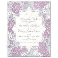 monogrammed mauve floral wedding save the date card with optional