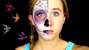 Half Skull Halloween Makeup by Half Face Sugar Skull Makeup Tutorial Youtube