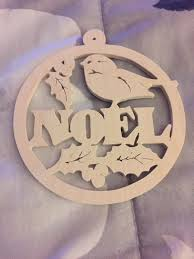 scroll saw round wooden noel christmas tree ornament with holly