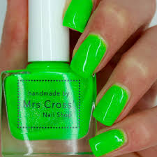 fishnets 10ml bright green neon nail polish handmade in the
