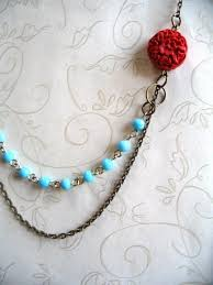 blue necklace images Red white and blue necklace vintage inspired botanical bird jpg