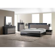 roma black and grey lacquer 5 pc bedroom set bed nightstand