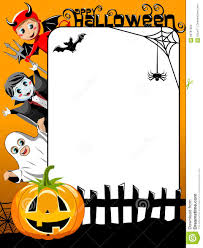 halloween kids cartoons vertical halloween frame kids in costume stock vector image