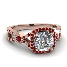 halo rings red images Micropave ruby halo diamond engagement ring in 14k rose gold jpg