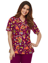 gobble gobble 2 pocket scrub top