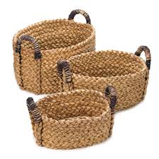 wholesale rustic woven nesting baskets with handles trio home decor