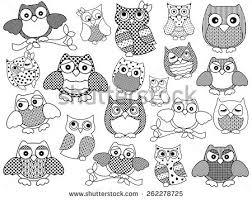 set fifteen colourful vector owls lace stock vector 197427149