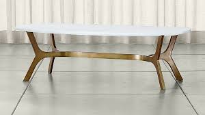 Marble Coffee Table Elke Rectangular Marble Coffee Table With Brass Base In Coffee