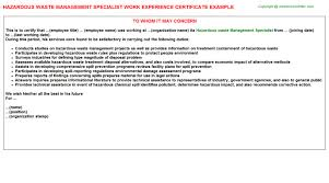 Certification Letter For Name Change Hazardous Waste Management Specialist Work Experience Certificate