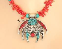 yellow turquoise necklace images Ethnic red bamboo coral turquoise necklace at 3700 azilaa jpg