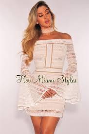 white crochet illusion off shoulder bell sleeves dress