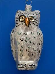slvr white owl european blown glass christmas tree ornament eule