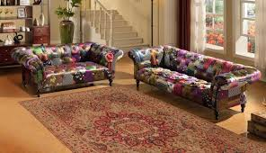 Chesterfield Sofa Patchwork Avici Scroll Chesterfield 3 1 Luxury Fabric Patchwork Sofa Suite