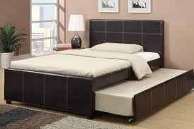 Full Size Bedroom Furniture espresso faux leather full size bed with twin size trundle bed