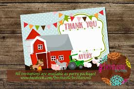 farm animal birthday thank you card old mcdonald farm