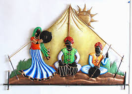Home Decoratives Rajasthani Musicians In The Desert Iron Craft Wall Hanging For