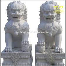 marble lions garden decor naturla carving white marble foo dog lion