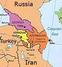 russia map border countries caucasus
