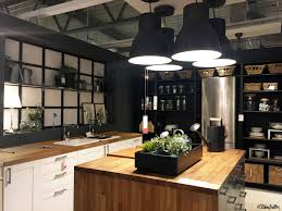 kitchen patterns and designs black white and wood kitchen display room at ikea birmingham