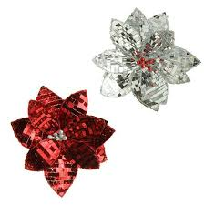clip on sequin poinsettia ornament set of 2