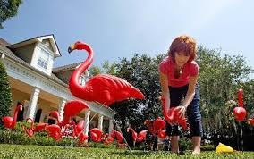 stolen pink flamingo lawn ornaments returned in time for breast