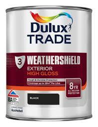 Metal Paint Exterior - dulux trade exterior black gloss wood u0026 metal paint 1l tin