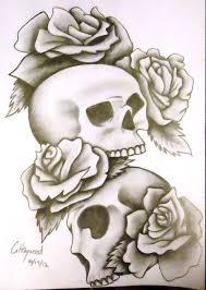 skull rose tattoo design by noctiluca angel on deviantart