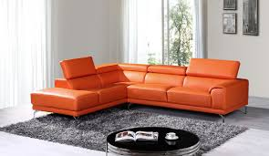 Leather Sectional Sofa by Casa Wisteria Modern Orange Leather Sectional Sofa W Left Facing