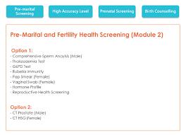 pre marital and fertility health screening module 2 neohealth